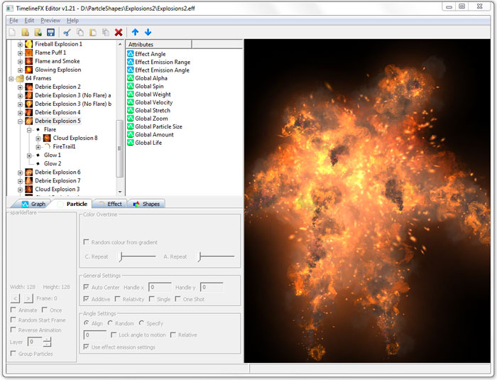 Click to view TimelineFX Particle Effects Editor 1.25 screenshot